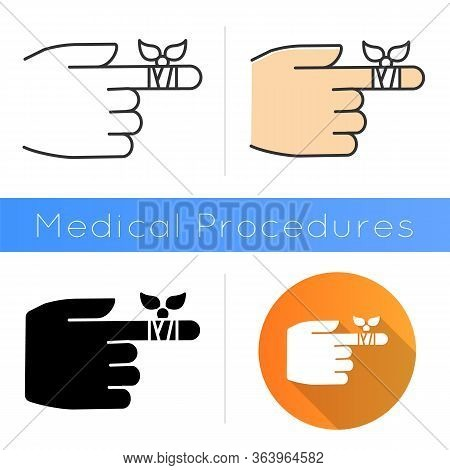 Bandaging Icon. Hurt Finger. Hand Injury. Arm Pain Help. First Aid. Medical Procedure. Clinical Trea