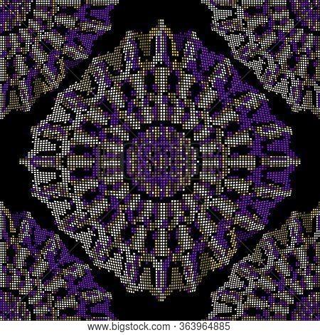 Digital Modern Halftone Mandalas Seamless Pattern. Vector Colorful Futuristic Background. Repeat Gru