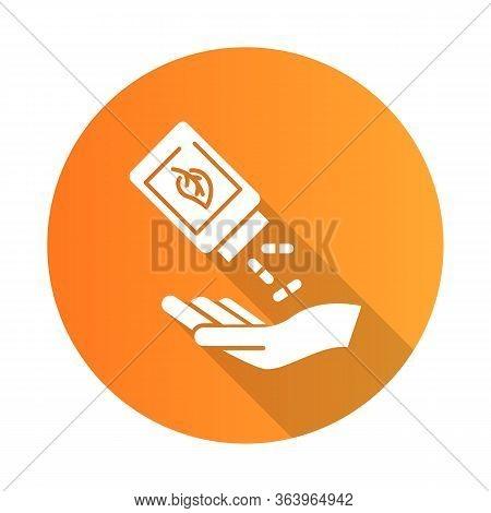 Homeopathy Orange Flat Design Long Shadow Glyph Icon. Natural Remedy. Organic Pills. Herbal Suppleme