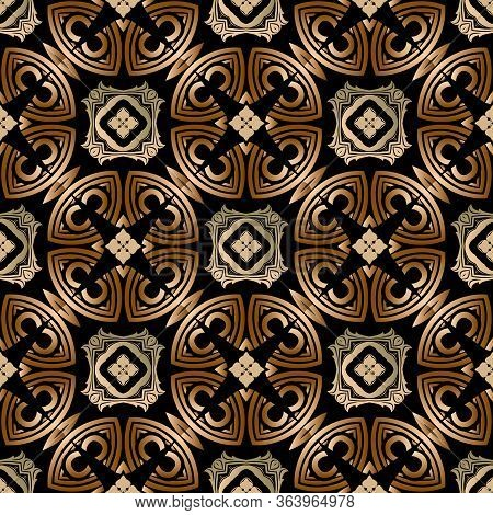 Golden Baroque Style Seamless Pattern. Ornamental Floral Vector Background. Modern Vintage Beautiful