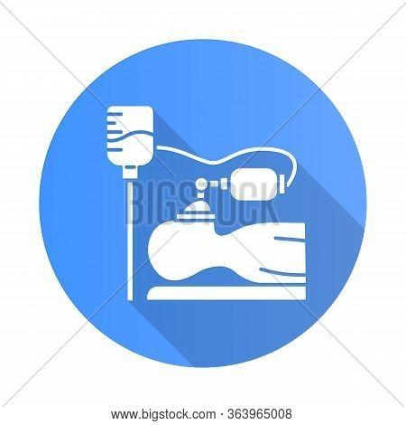 Anesthesia Blue Flat Design Long Shadow Glyph Icon. Medical Procedure. Apnea Stage. Liquid Induction
