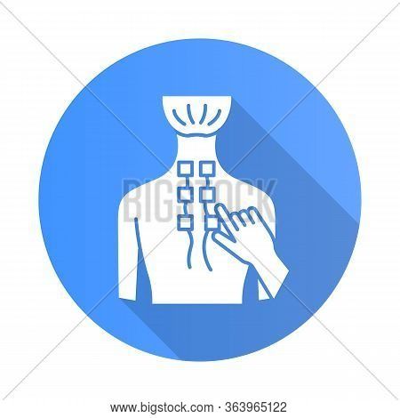 Physiotherapy Blue Flat Design Long Shadow Glyph Icon. Medical Procedures. Physical Therapy. Healthc