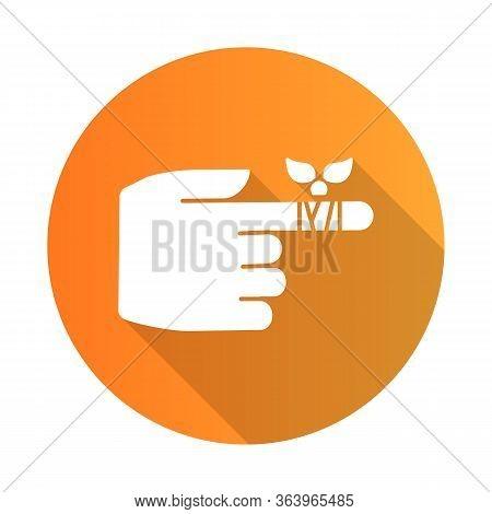 Bandaging Orange Flat Design Long Shadow Glyph Icon. Hurt Finger. Hand Injury. Arm Pain Help. First