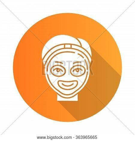 Cosmetology Orange Flat Design Long Shadow Glyph Icon. Spa Facial Treatment. Medical Procedure. Face