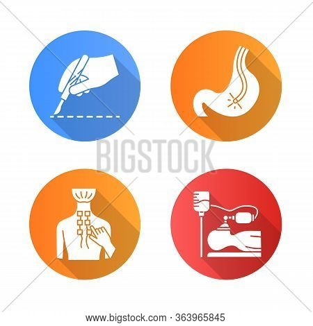 Medical Procedure Flat Design Long Shadow Glyph Icons Set. Surgery. Endoscopy. Digestive Tract, Stom
