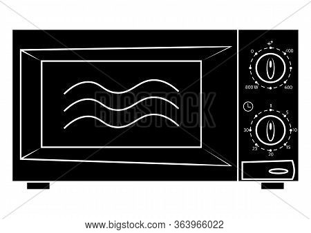 Microwave Icon. Microwave Symbol In Glyph Style, Simple Vector, Icon For Website Design, Mobile App.