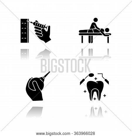 Medical Procedure Drop Shadow Black Glyph Icons Set. Injection. Massage. Lavement. Dental Care. Oral