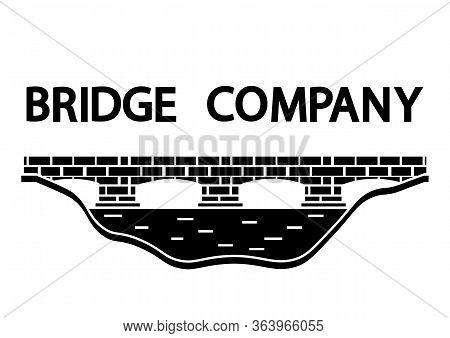 Bridge Icon. Black Minimalist Bridge Logo Design In Glyph Style. Flat Style Trend Modern Brand Graph