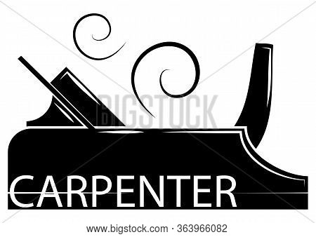 Carpenter In Glyph Style. Icon Of A Carpentry. Illustration Of A Planer. Woodworking Logo Design, Cr