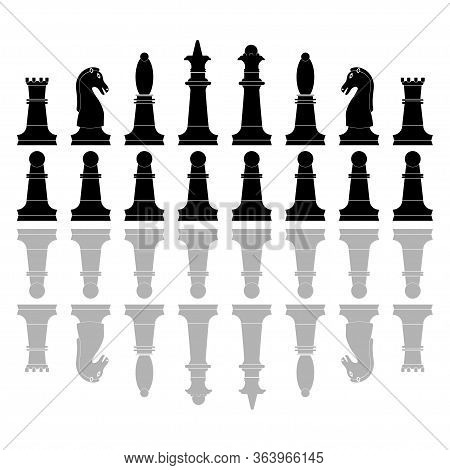 Chess Pieces Icons. Board Game. Silhouette Of Knight, Bishop, Pawn, Queen, Rook And King In Black Co