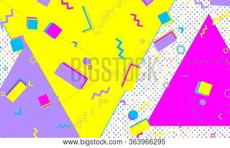 Memphis Background. Abstract Dots. Memphis Pattern. Vector Illustration. Hipster Style 80s-90s. Fun