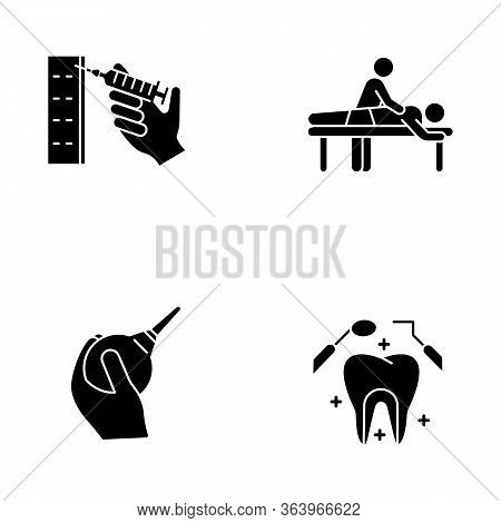 Medical Procedure Glyph Icons Set. Injection With Syringe. Massage. Lavement. Dental Care. Oral Heal