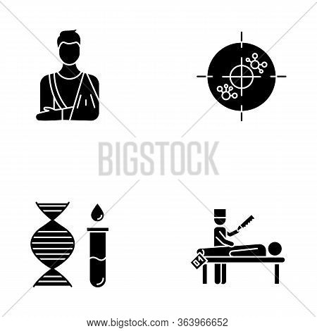 Medical Procedure Glyph Icons Set. Orthopedic Cast. Immunotherapy. Genetic Test. Dna Helix And Molec