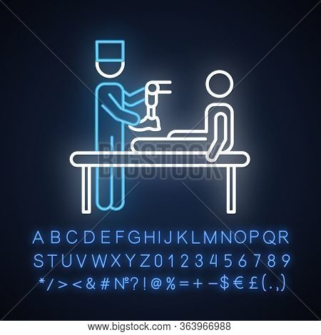 Prosthetics Neon Light Icon. Medical Procedure. Doctor, Patient. Amputee With No Limb. Prosthesis. H