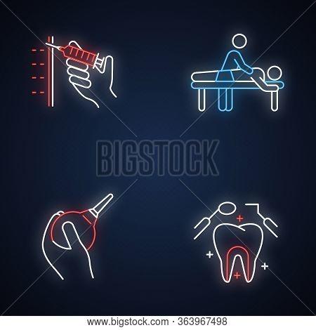 Medical Procedure Neon Light Icons Set. Injection With Syringe. Massage. Lavement. Dental Care. Oral