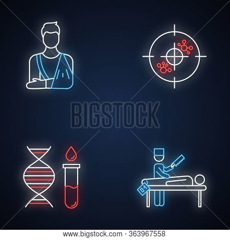 Medical Procedure Neon Light Icons Set. Orthopedic Cast. Fractured Bone Aid. Immunotherapy. Genetic