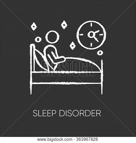 Sleep Deprivation Chalk Icon. Insomnia. Man Alone In Bed. Awake At Night. Sleepless. Disturbed Sleep