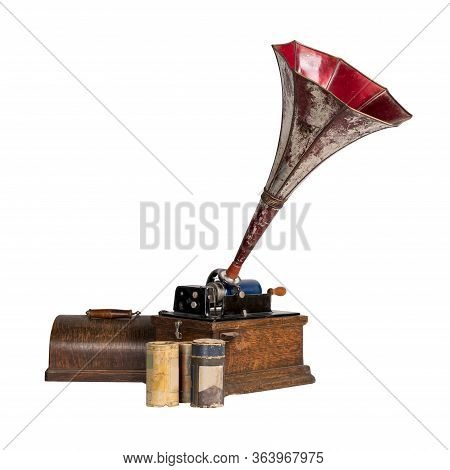 High Angle Cut Out Of 1911 Old Phonograph With Three Cylinder Records, Including Clipping Path, Isol