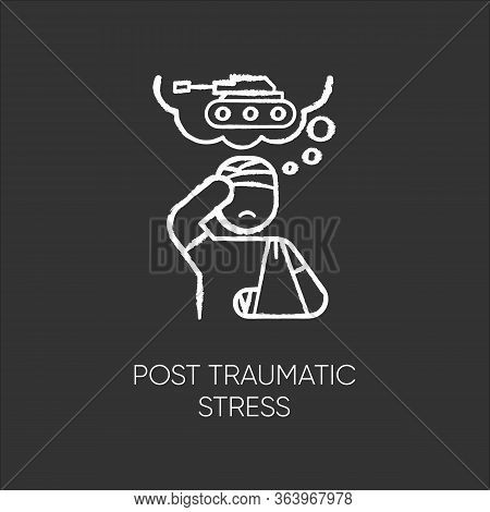 Post-traumatic Stress Chalk Icon. Veteran With Anxiety. Depressed Soldier. Loneliness And Sorrow. Di