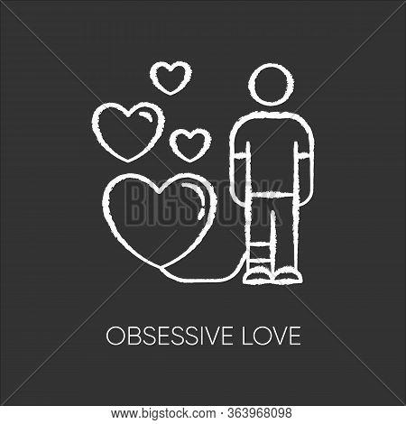 Obsessive Love Chalk Icon. Possessive Relationship. Attachment To Lover. Extreme Behaviour. Passion.