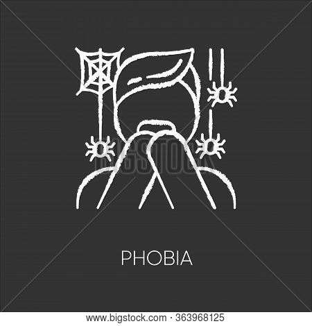 Phobia Chalk Icon. Fear Of Spiders. Arachnophobia. Frightened Person, Terrified Man Horror. Panic At