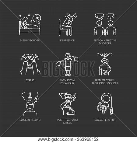Mental Disorder Chalk Icons Set. Depression. Season Affective Disorder. Stress, Ptsd. Anti-social Be