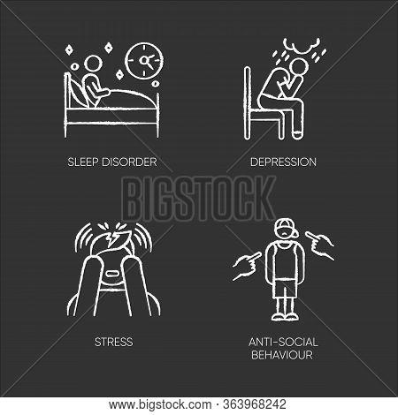 Mental Disorder Chalk Icons Set. Sleep Deprivation. Depression And Anxiety. Stress. Anti-social Beha