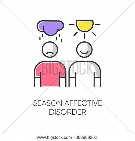 Seasonal Affective Disorder Color Icon. Mood Swing. Emotional Change. Manic And Depressive Episodes.