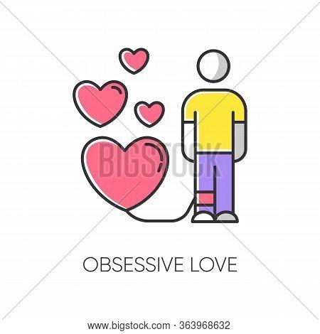 Obsessive Love Color Icon. Possessive Relationship. Attachment To Lover. Extreme Behaviour. Passion.