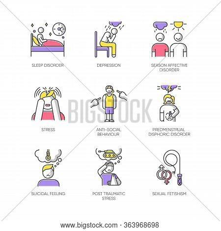 Mental Disorder Color Icons Set. Sleep Deprivation. Depression. Season Affective Disorder. Stress, P
