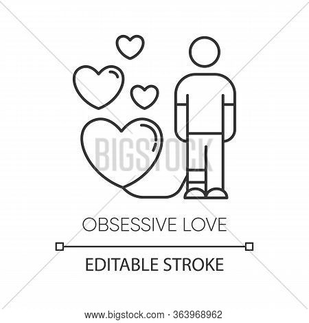 Obsessive Love Linear Icon. Possessive Relationship. Attachment To Lover. Extreme Behaviour. Mental