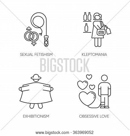 Mental Disorder Linear Icons Set. Sexual Fetishism. Kleptomania. Exhibitionism. Obsessive Love. Stea