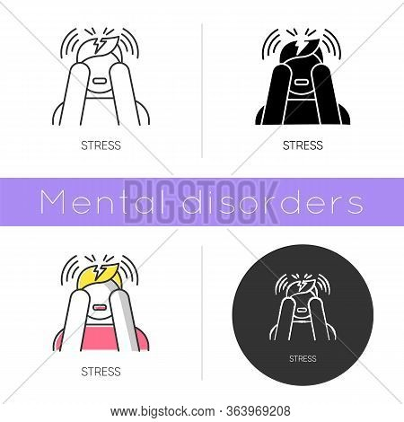 Stress Icon. Anxiety And Panic Attack. Emotional Problem. Distress. Migraine And Headache. Worried M
