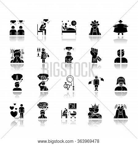 Mental Disorder Drop Shadow Black Glyph Icons Set. Depression, Anxiety. Self-harm, Suicidal Feeling.