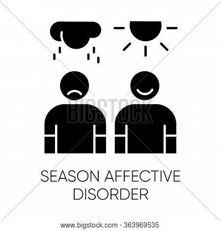 Seasonal Affective Disorder Glyph Icon. Mood Swing. Emotional Change. Manic And Depressive Episodes.
