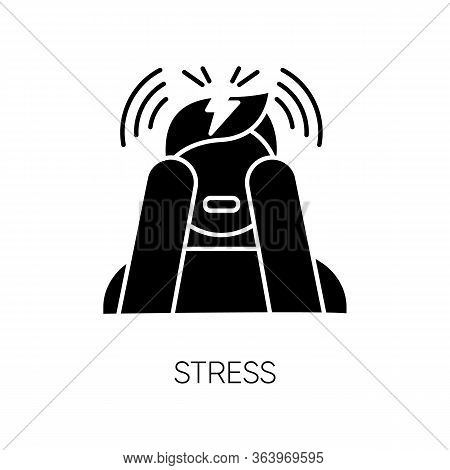 Stress Glyph Icon. Anxiety And Panic Attack. Emotional Problem. Distress. Migraine And Headache. Ups