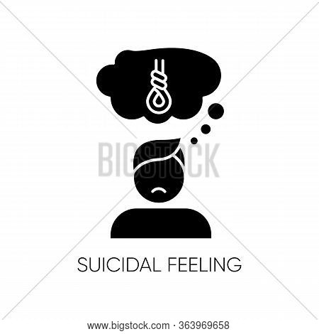 Suicidal Feeling Glyph Icon. Depressive Thoughts. Vulnerable Person. Death Attempt Prevention. Menta