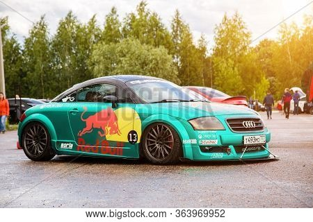 Moscow, Russia - July 06, 2019: Tuned Audi Tt Tightened By A Special Turquoise Vinyl Film. The Car I