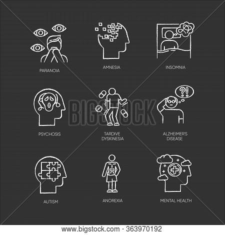 Mental Disorder Chalk Icons Set. Paranoia, Psychosis. Amnesia, Insomnia. Tardive Dyskinesia. Alzheim