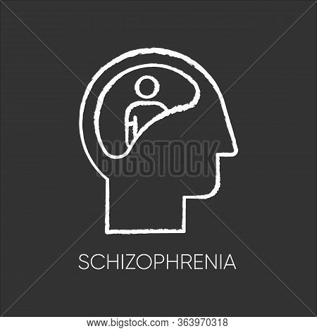Schizophrenia Chalk Icon. Unclear Thinking. Confused Mind. Mental Disorder. Paranoia And Anxiety. Ab