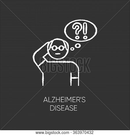 Alzheimers Disease Chalk Icon. Dementia. Memory Loss. Trouble With Thinking. Illness From Old Age. E