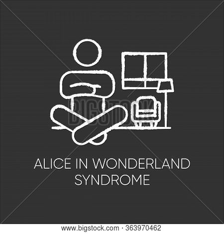Alice In Wonderland Syndrome Chalk Icon. Visual Perception. Size Distortion. Dysmetropsia. Impaired
