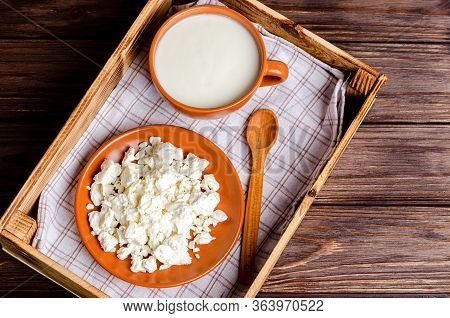 Homemade Dairy Products - Kefir, Cottage Cheese In A Wooden Tray On A Wooden Background. Healthy Eat