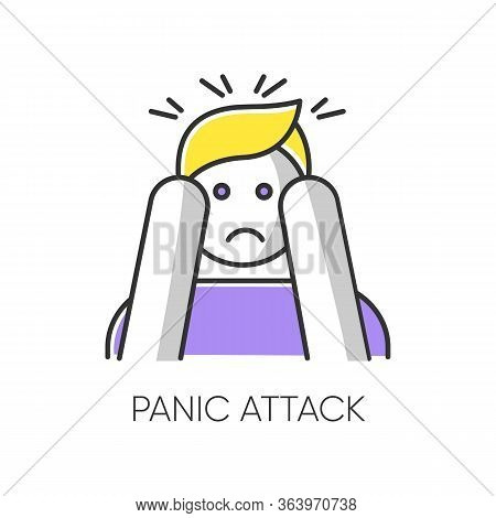 Panic Attack Color Icon. Anxiety And Depression. Paranoia And Phobia. Migraine From Stress. Person A