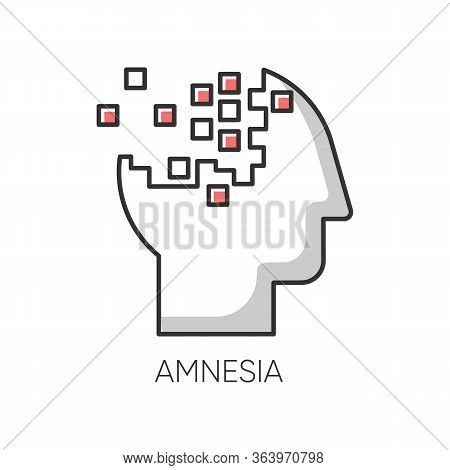 Amnesia Color Icon. Memory Loss. Forgetting From Brain Injury. Trouble With Remembering. Korsakoff S
