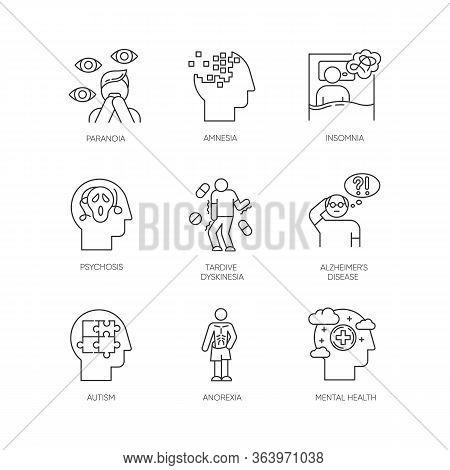 Mental Disorder Linear Icons Set. Paranoia, Psychosis. Tardive Dyskinesia. Alzheimer Disease. Autism