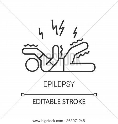 Epilepsy Linear Icon. Convulsive Seizure. Shaking And Tremor. Epileptic Stroke. Mental Disorder. Thi