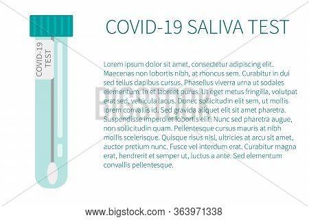 Covid-19 Saliva Test Icon. Tubes With Saliva Sample. Concept Of Coronavirus Rapid Test. Lab Research