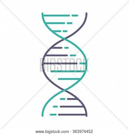 Dna Double Helix Violet And Turquoise Color Icon. Deoxyribonucleic, Nucleic Acid Structure. Spiralin