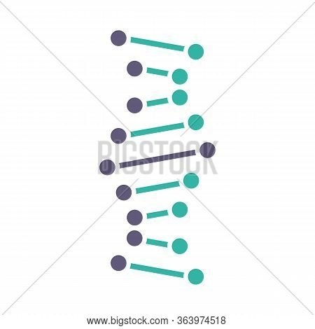 Dna Helix Violet And Turquoise Color Icon. Connected Dots, Lines. Deoxyribonucleic, Nucleic Acid Str